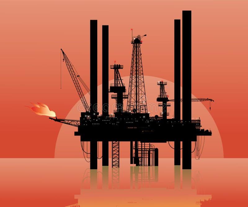Drilling platform. Vector illustration of a drilling platform in sea royalty free illustration