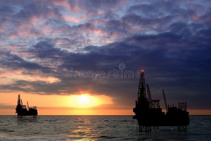 Drilling platform on sea royalty free stock image