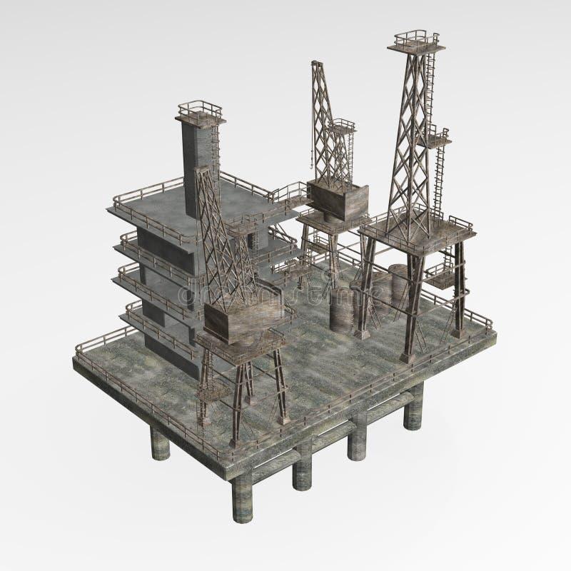 Drilling rig. 3d render of drilling rig vector illustration