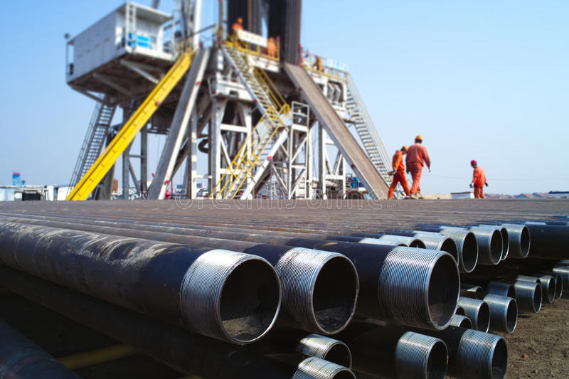 Drilling rig. And pipe in china stock photo