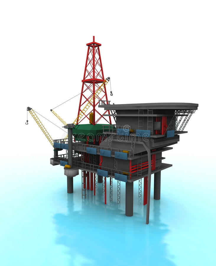 Drilling Rig. Isolated 3D representation of a Drilling Rig with shadows stock illustration