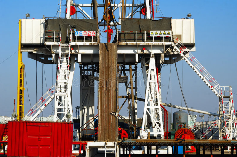 Drilling rig. A land drilling rig in Shengli Oil, CHN stock photo