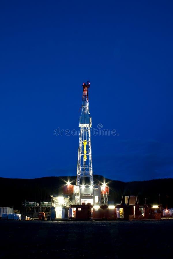 Drilling rig at night. A large drilling rig at night