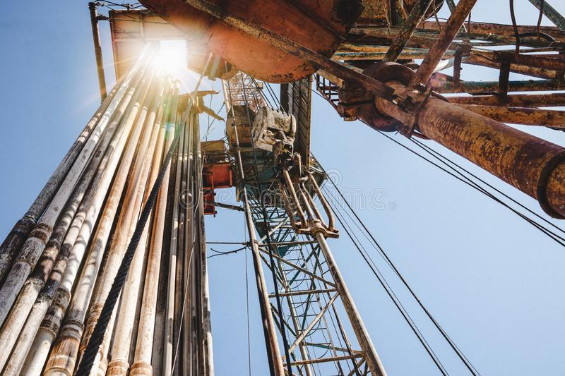 Drilling rig in oil field for drilled into subsurface in order to produced crude, inside view. Petroleum Industry royalty free stock photo