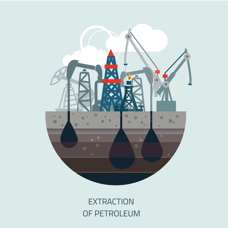 Drilling rig at sea. Oil platform, gas fuel,. Industry offshore, drill technology, flat vector illustration royalty free illustration