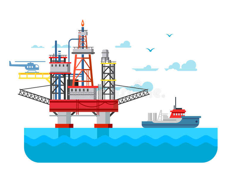 Drilling rig at sea. Oil platform, gas fuel, industry offshore, drill technology, flat vector illustration vector illustration