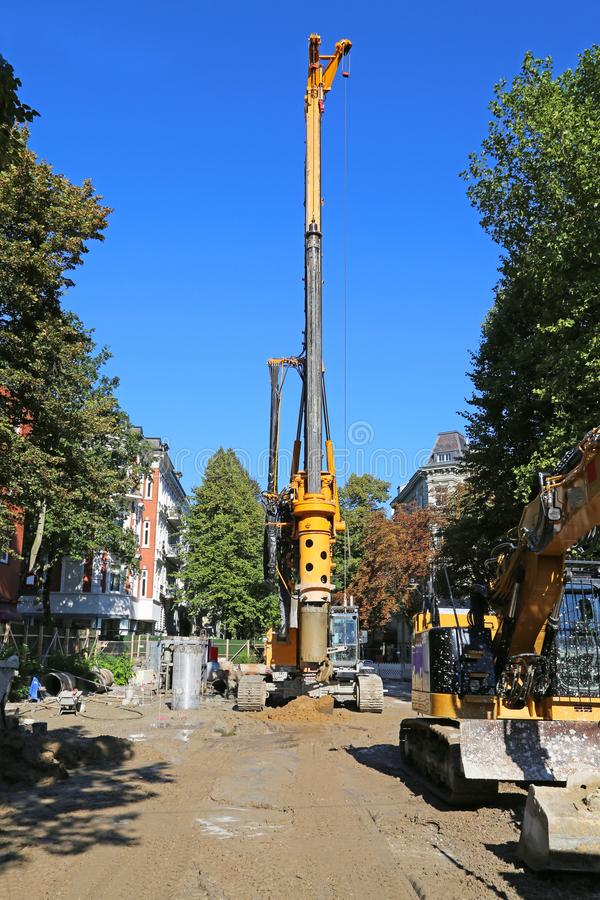 Sewer_drilling. Drilling rig for sewer modernization in Hamburg stock image