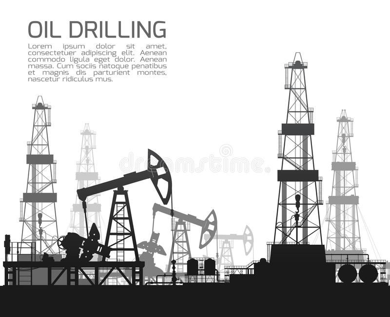 Drilling rigs and oil pumps on white. Background. Detail vector illustration vector illustration