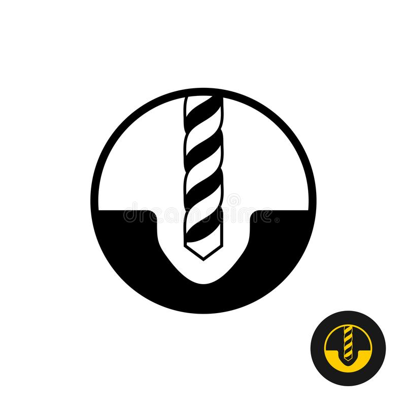 Drilling symbol. Black drill bit with hole in a surface icon. Warning sign stock illustration