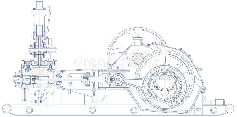 Drilling triplex pump. Sketch. Drilling triplex pump. EPS 10 stock illustration