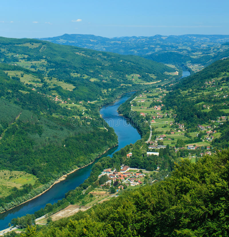 Drina river canyon. Nerar Bajina Basta, Serbia stock photography