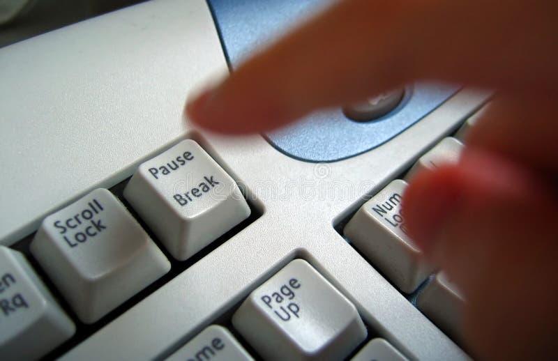 Dringende de onderbrekingssleutel van de vinger stock afbeeldingen