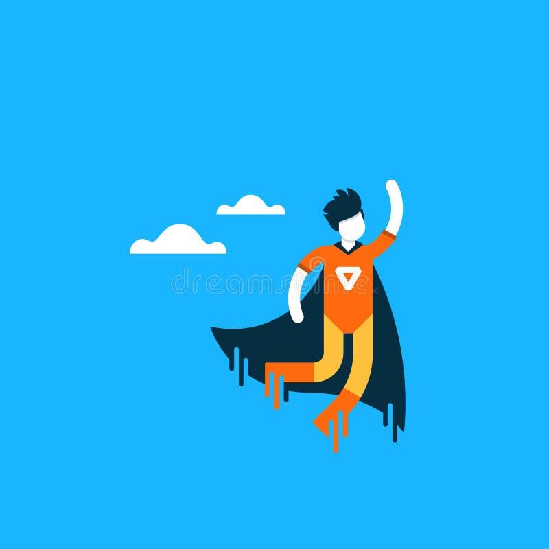 Dringende hulp, het super karakter van het heldenbeeldverhaal royalty-vrije illustratie