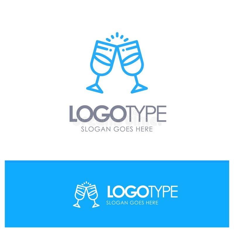 Drink alkohol, fruktsaft, romantiker, blå översikt Logo Place för par för Tagline royaltyfri illustrationer