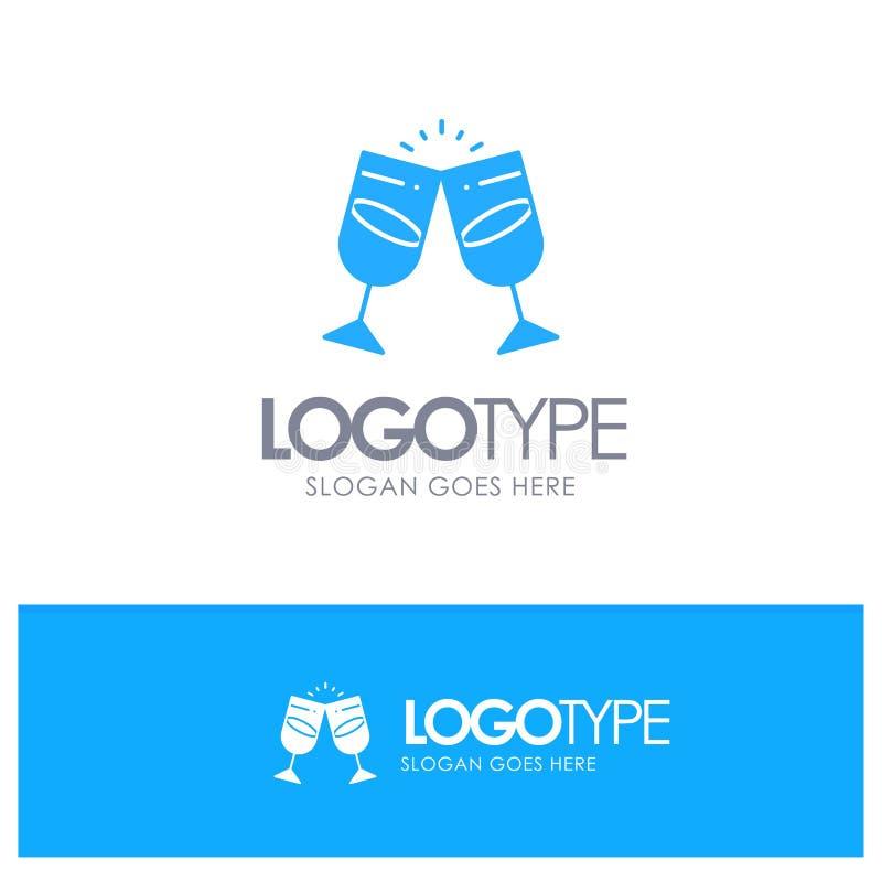 Drink alkohol, fruktsaft, romantiker, blå fast logo för par med stället för tagline royaltyfri illustrationer