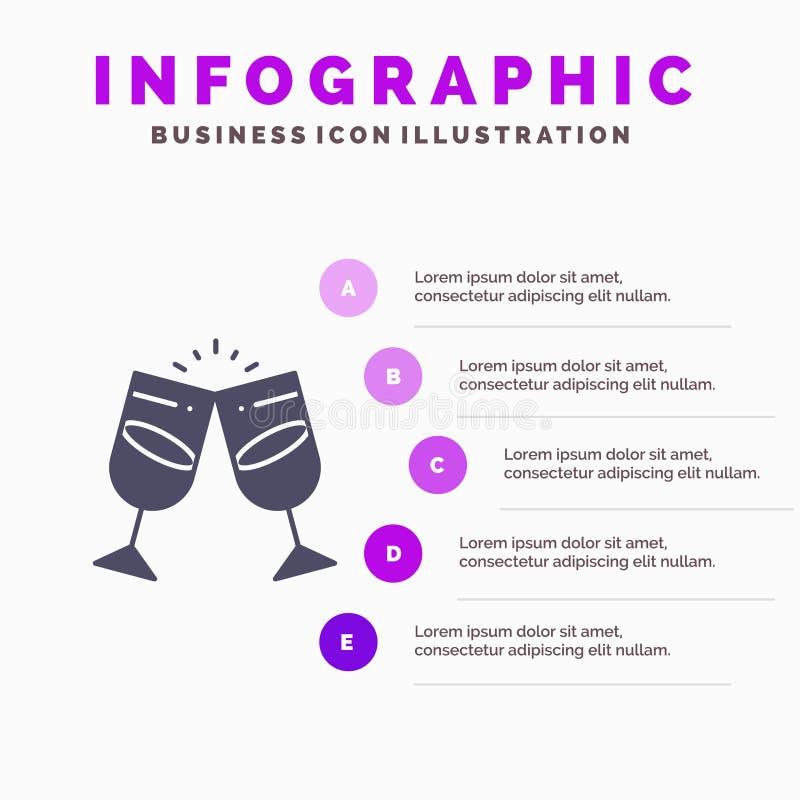 Drink alkohol, fruktsaft, romantiker, för symbolsInfographics 5 för par fast bakgrund för presentation moment stock illustrationer