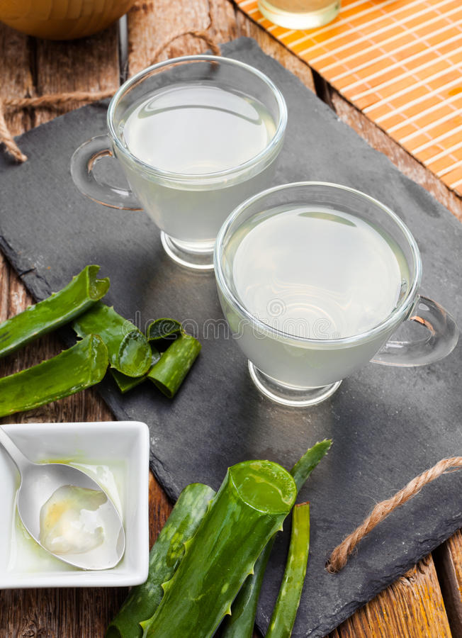 Drink aloe vera and honey. royalty free stock images