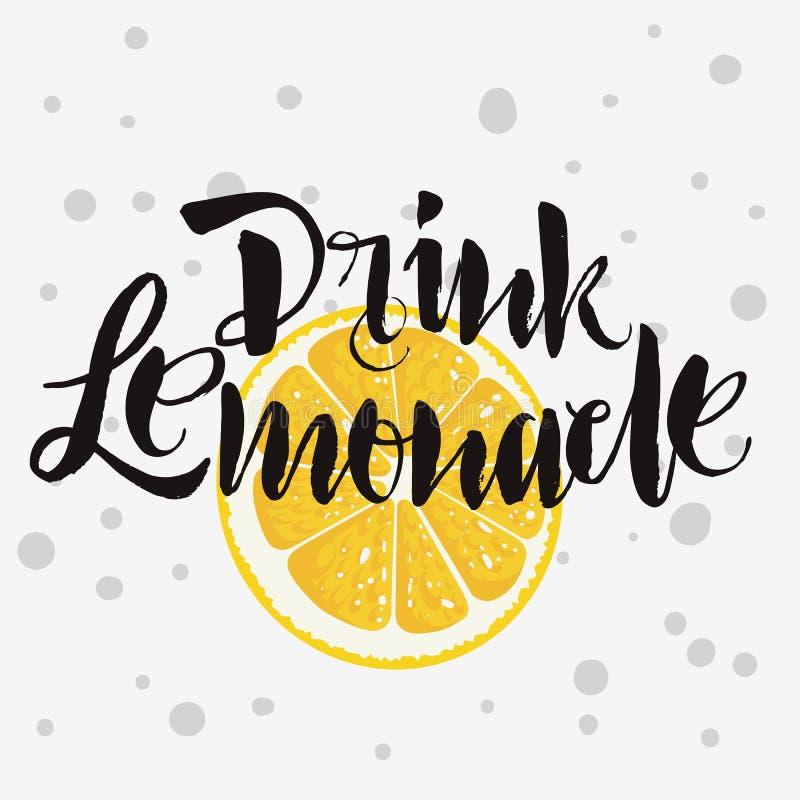 Drink Artistieke Met de hand geschreven de Borstelca van de Limonade Ruwe Gevonden Douane royalty-vrije illustratie