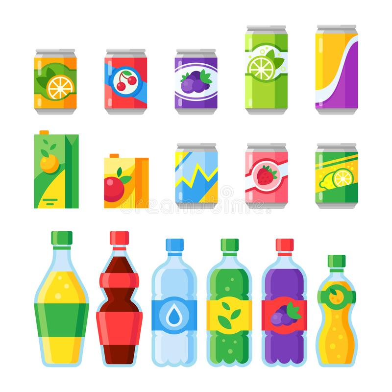 Drink beverages. Cold energy or fizzy soda beverage, sparkling water and fruit juice in glass bottles. Drinks vector. Drink beverages. Cold energy or fizzy soda royalty free illustration