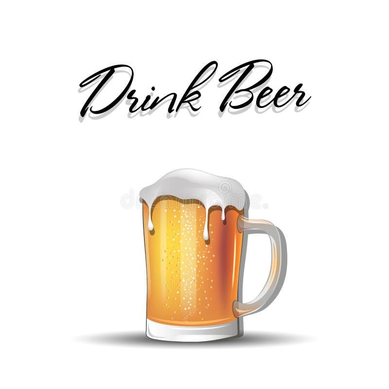 Drink bier De mok van het bier met schuim royalty-vrije illustratie
