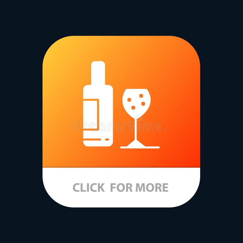 Drink, Bottle, Glass, Love Mobile App Button. Android and IOS Glyph Version stock illustration