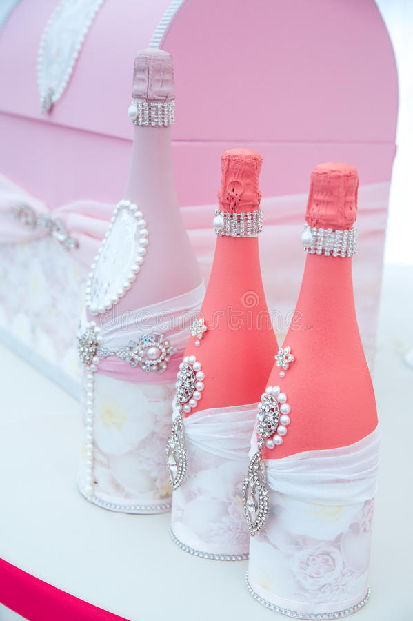 Drink bottles on a dessert table royalty free stock photos