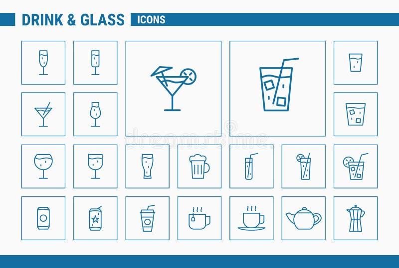 Drink- & exponeringsglassymboler - ställ in rengöringsduk & mobil 01 royaltyfri illustrationer