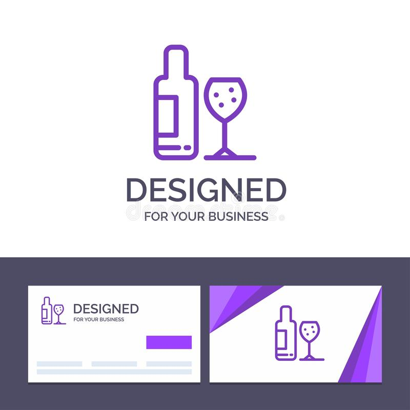 Drink för idérik mall för affärskort och logo, flaska, exponeringsglas, förälskelsevektorillustration vektor illustrationer