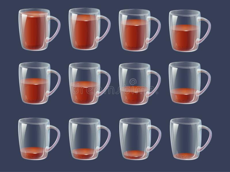 Drink för Sprite arkanimering - mycket, halvfulla tomma klara glas royaltyfri illustrationer