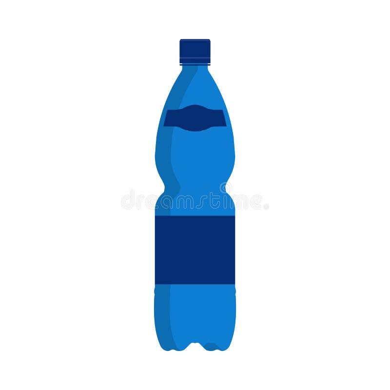 Drink för symbol för vektor för vattenflaska Isolerad vätskebehållare för plast- blå dryck Mineraliskt sodavattensymbollock Plan  royaltyfri illustrationer