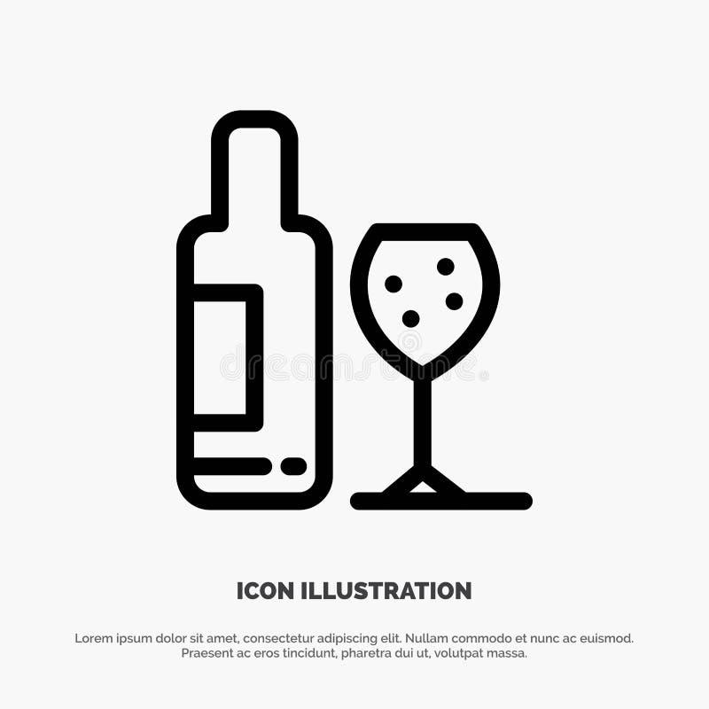 Drink flaska, exponeringsglas, förälskelselinje symbolsvektor stock illustrationer