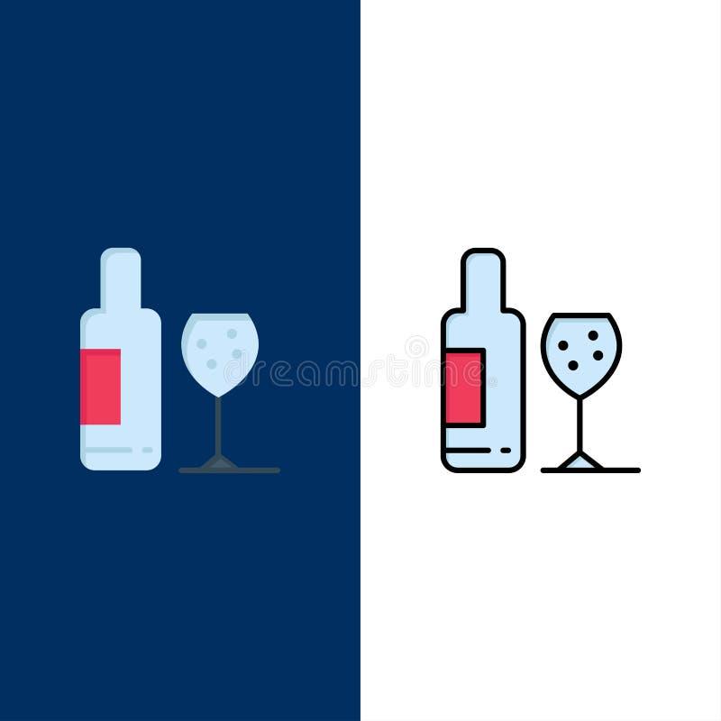 Drink flaska, exponeringsglas, förälskelsesymboler Lägenheten och linjen fylld symbol ställde in blå bakgrund för vektorn royaltyfri illustrationer