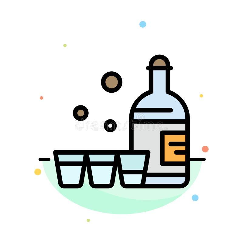Drink flaska, exponeringsglas, mall för Irland abstrakt plan färgsymbol stock illustrationer