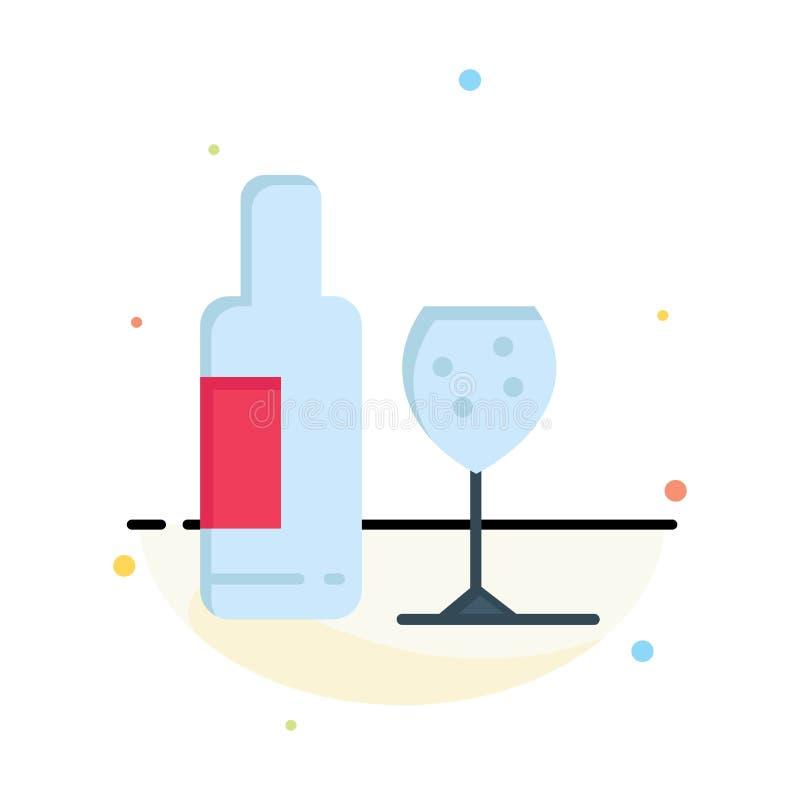 Drink flaska, exponeringsglas, mall för symbol för färg för förälskelseabstrakt begrepp plan vektor illustrationer