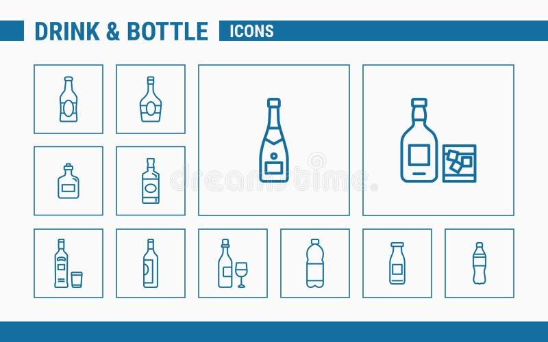 Drink- & flasksymboler - ställ in rengöringsduk & mobil 01 stock illustrationer
