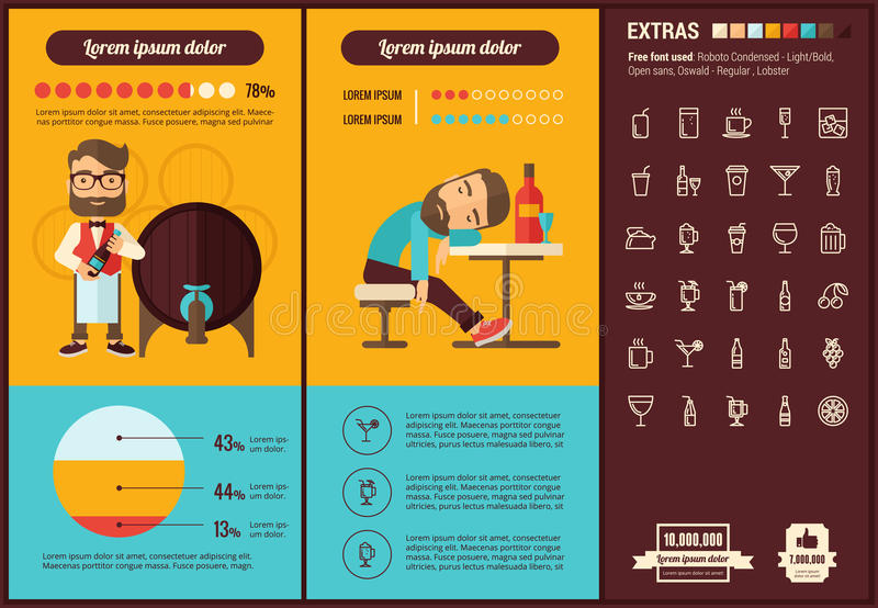 Drink flat design Infographic Template. Drink infographic template and elements. The template includes illustrations of hipster men and huge awesome set of thin stock illustration