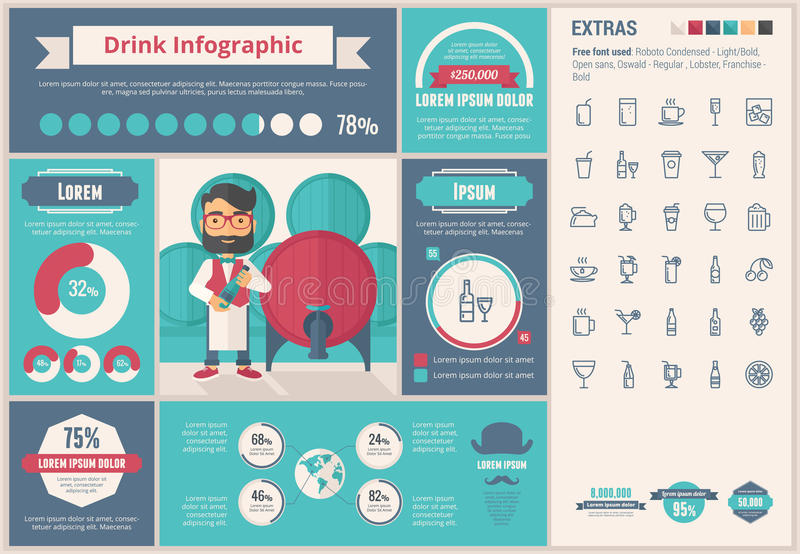 Drink flat design Infographic Template. Drink infographic template and elements. The template includes illustrations of hipster men and huge awesome set of thin vector illustration