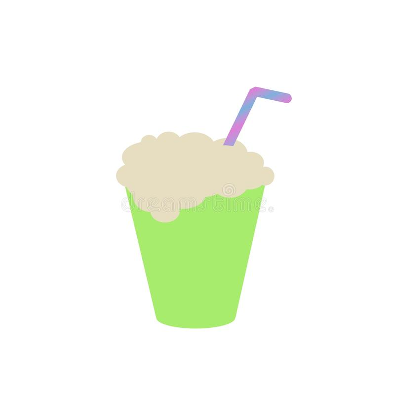 Drink with foam and straw in green glass clip art royalty free stock photos