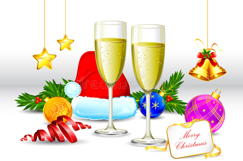 Drink Glass with Christmas element stock illustration