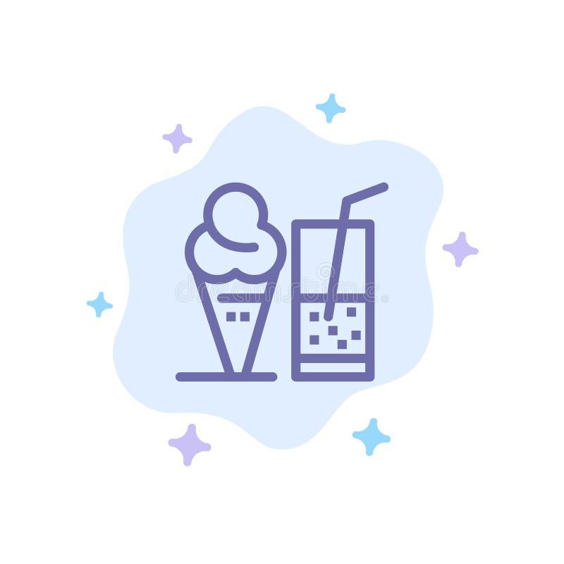 Drink glass, sommar, Juice Blue Icon på abstrakt molnbakgrund stock illustrationer