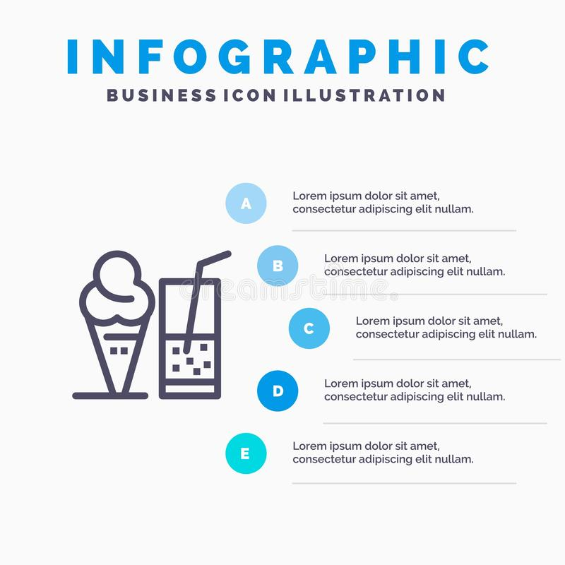 Drink glass, sommar, Juice Blue Infographics Template 5 moment Vektorlinje symbolsmall vektor illustrationer