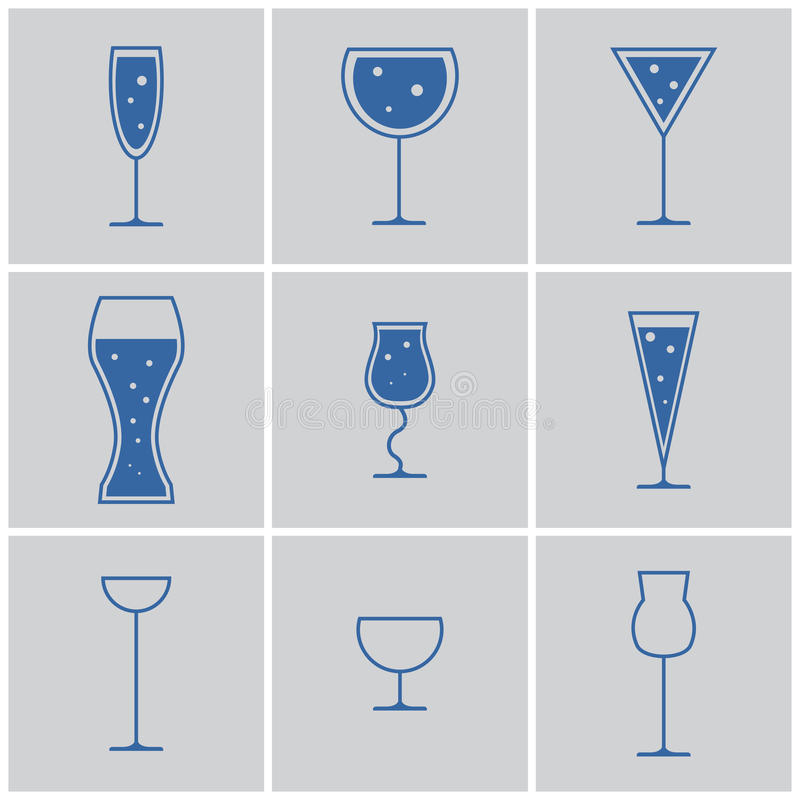 Drink glasses. Icons. vector eps 8 royalty free illustration