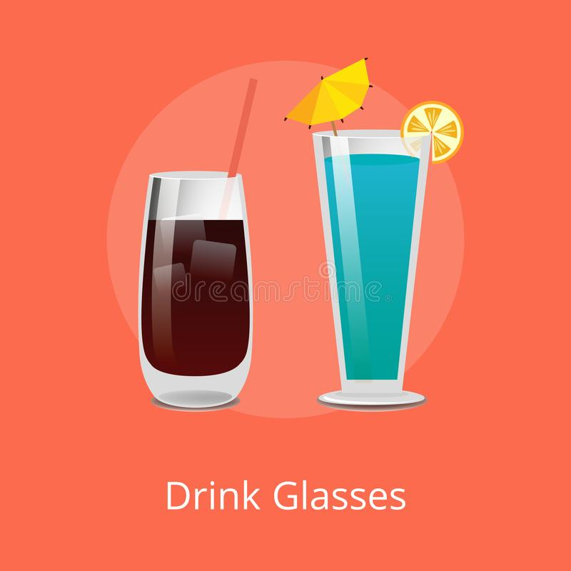 Drink Glasses Vodka Cola and Blue Lagoon Cocktails. Drink glasses Vodka cola and Blue Lagoon refreshing summer cocktails with straws, popular refreshment stock illustration