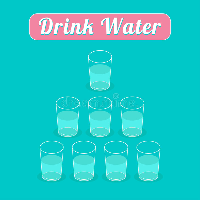 Drink 8 glasses of water. Healthy lifestyle concept. Pyramid set. Infographic. Flat design. Vector illustration stock illustration