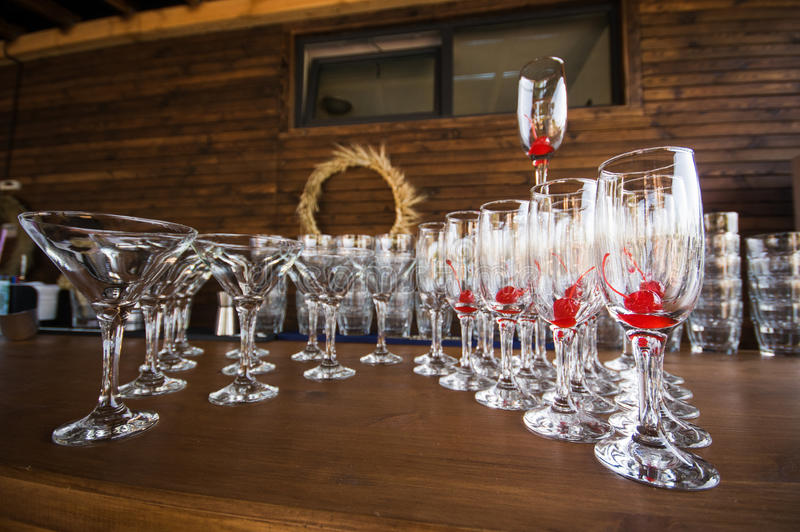 Drink glasses. At a wedding reception party royalty free stock image