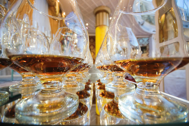 Drink glasses. At a wedding reception party stock images