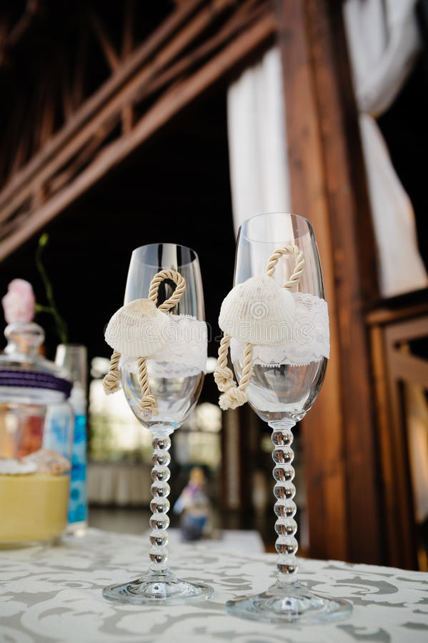 Drink glasses at a wedding. Reception party royalty free stock image
