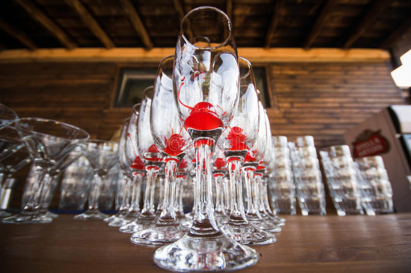 Drink glasses at a wedding reception. Party royalty free stock images