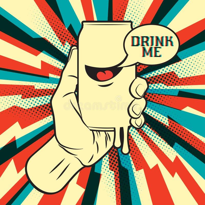 Drink i hand royaltyfri illustrationer