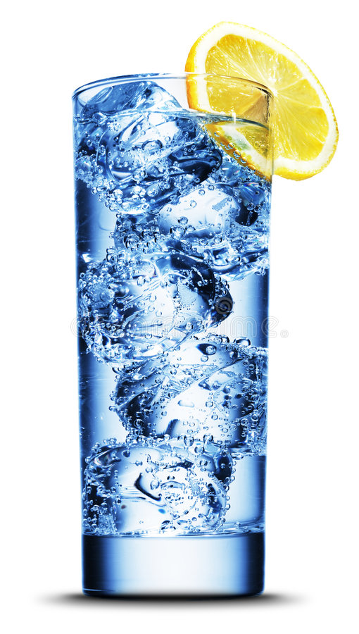 Download Drink With Ice And Lemon Slice Close-up Stock Image - Image of blue, crystal: 8621099